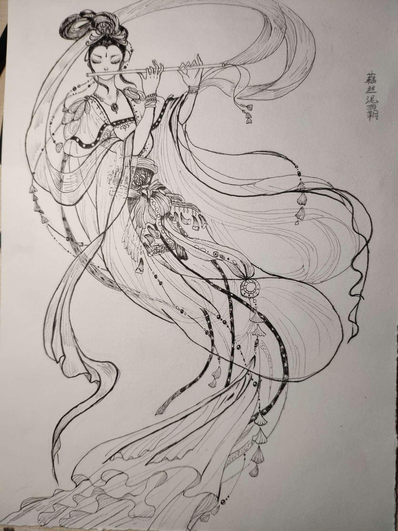 【手绘】唐朝风格飞天壁画