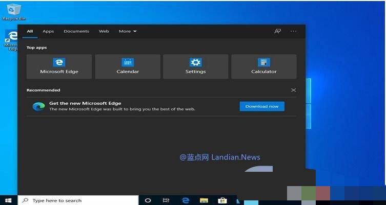 微软开始在Win10搜索栏推送新版Edge浏览器广