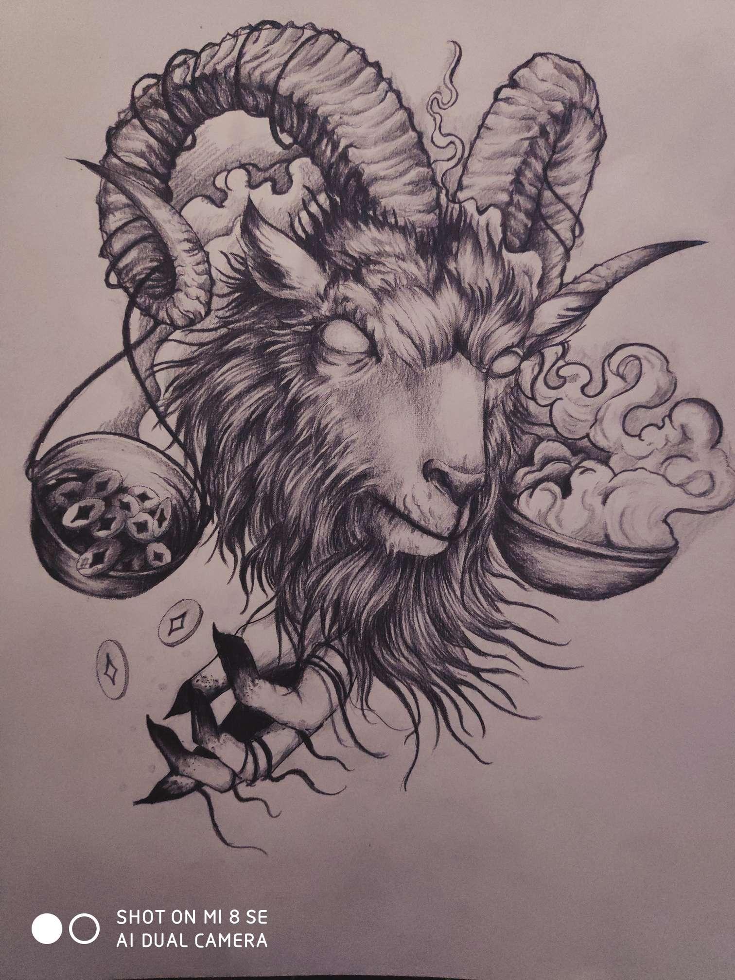 【手绘】羊头,纲手acg-小柚妹站