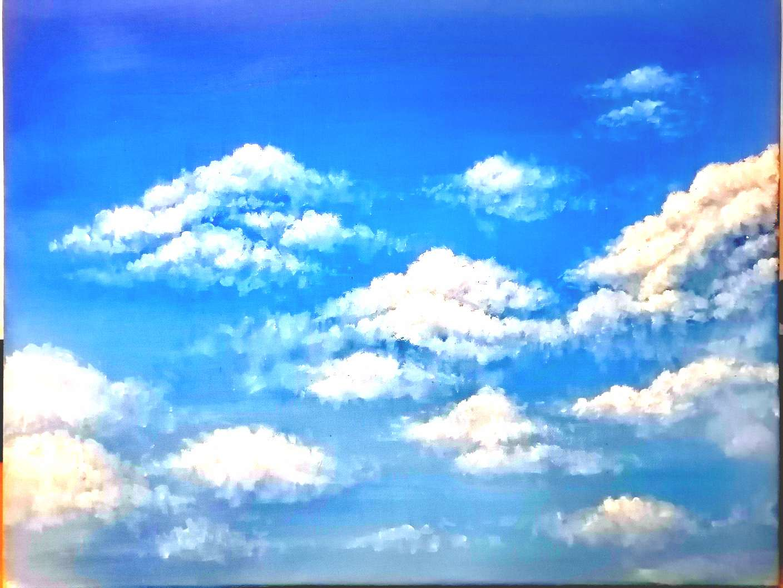 【手绘】烂烂的天空(油画)