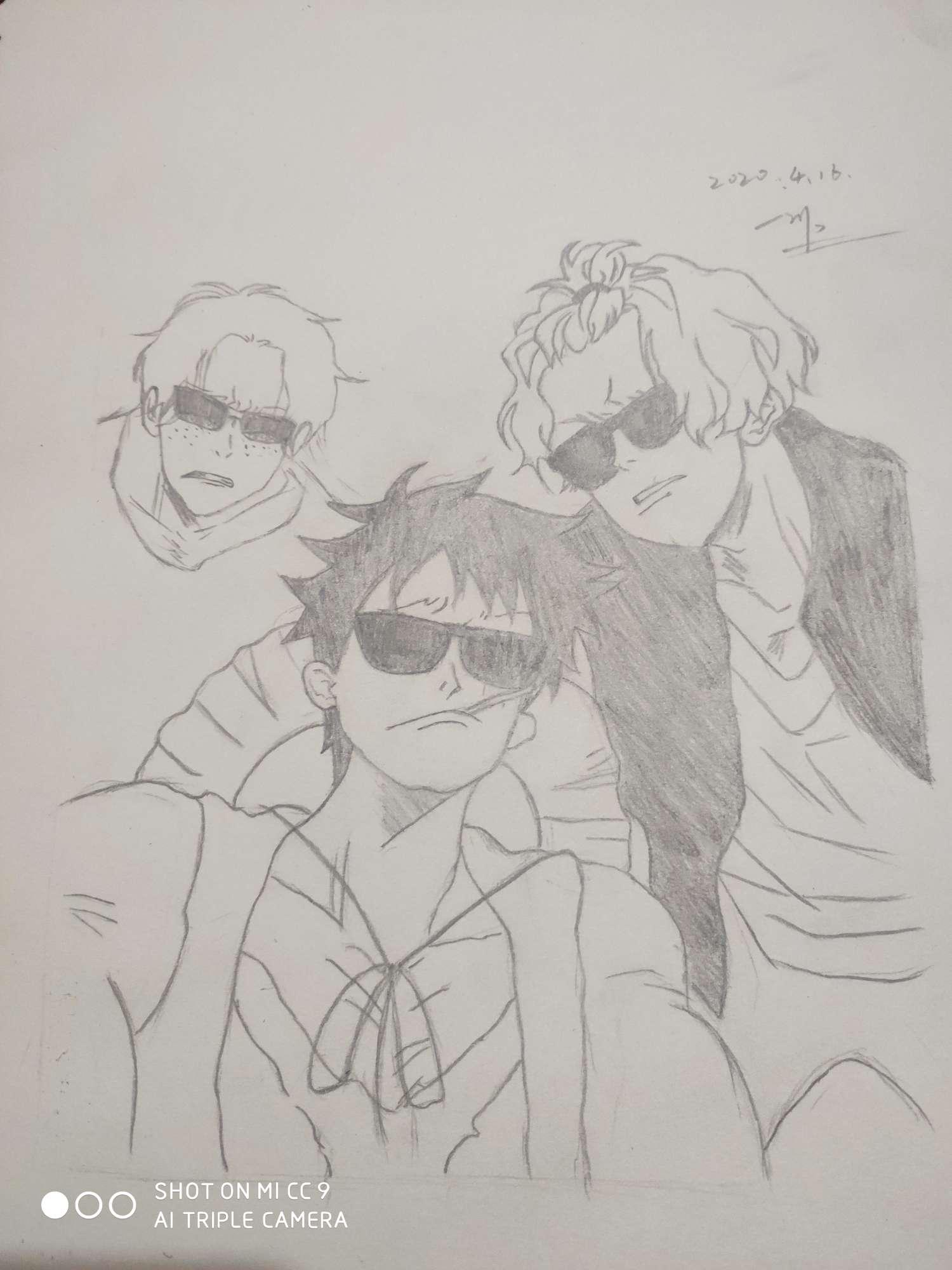 【手绘】海贼三兄弟#艾斯#路飞#萨博