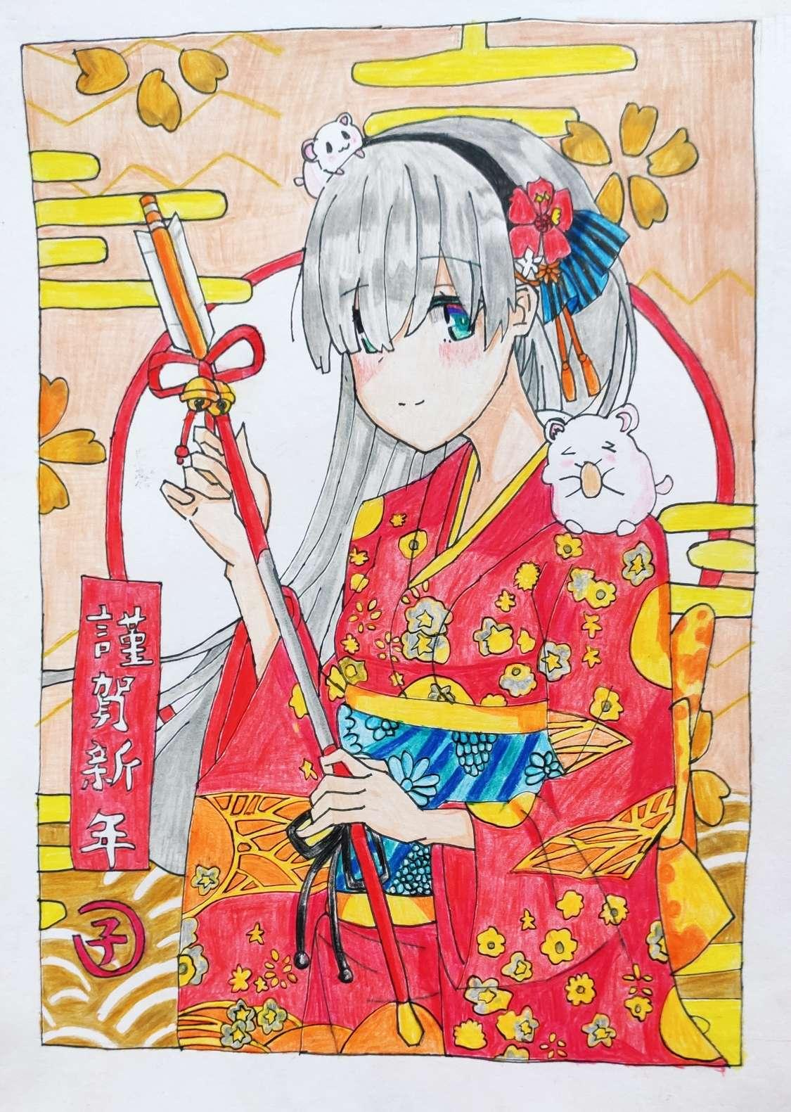 【手绘】这一年过年画的彩铅画(临摹)-小柚妹站