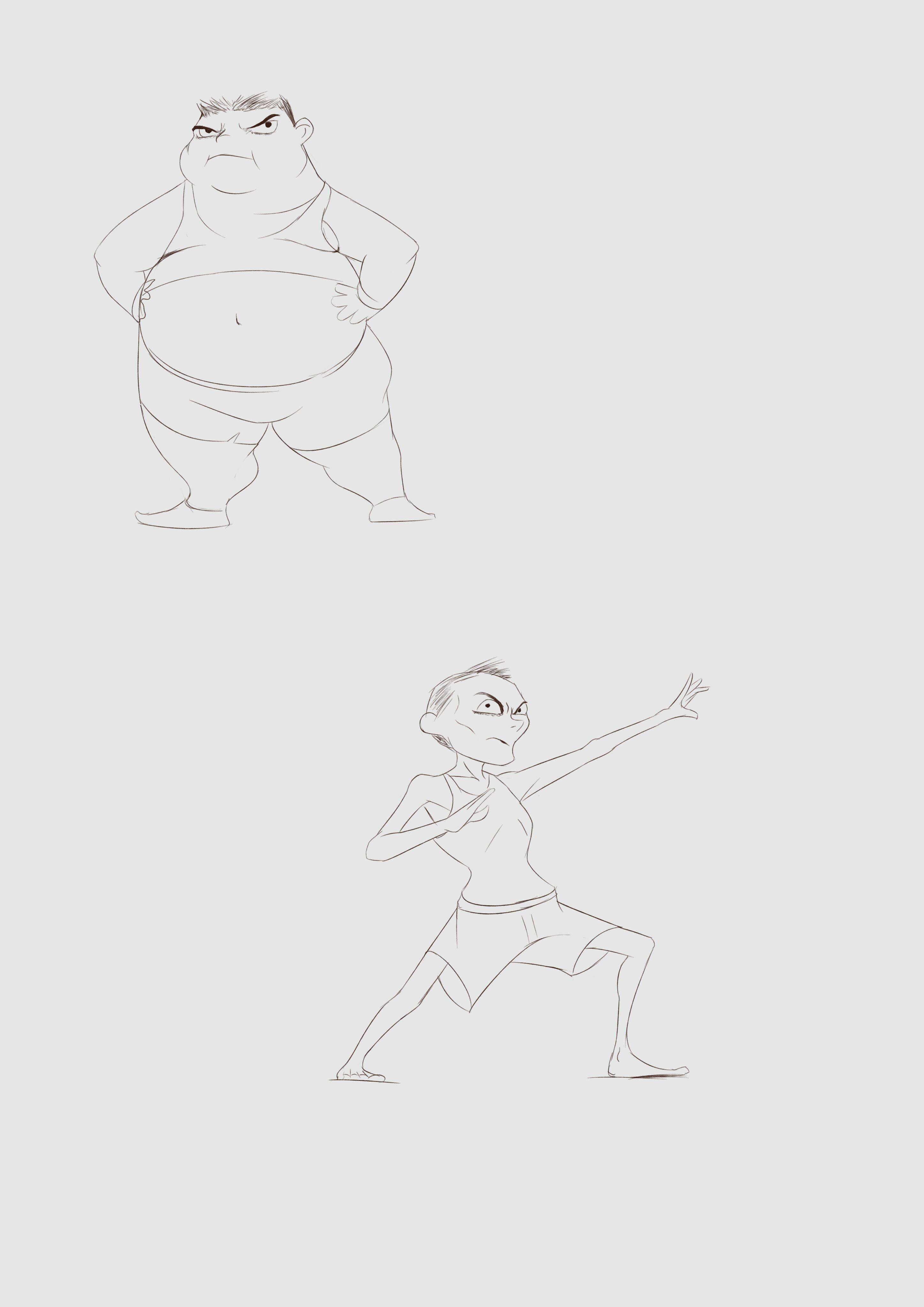 【板绘】(非任务)练习——5(尝试不同体型)-小柚妹站