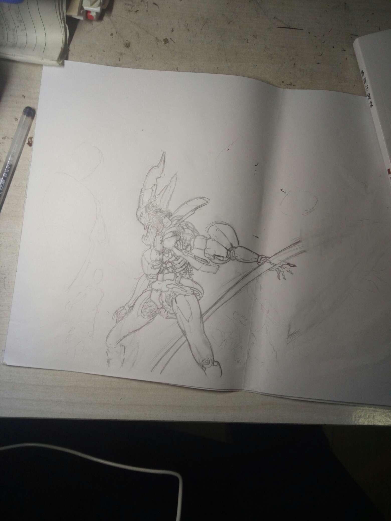 【手绘】机甲画风,哭泣的卡通少女图片