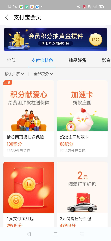 【现金红包】支付宝领积分兑换1元支付宝红包-聚合资源网
