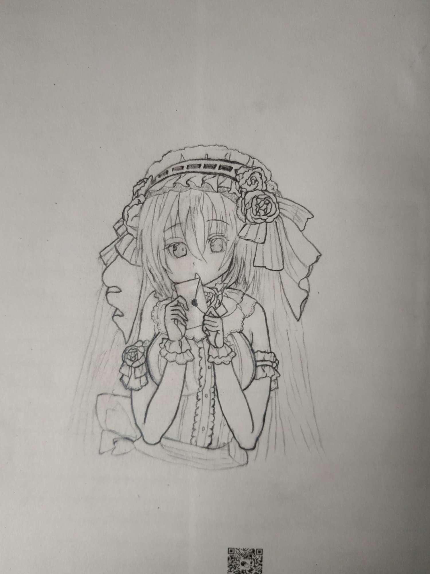 【手绘】试着继续画了画,加上上次的-小柚妹站