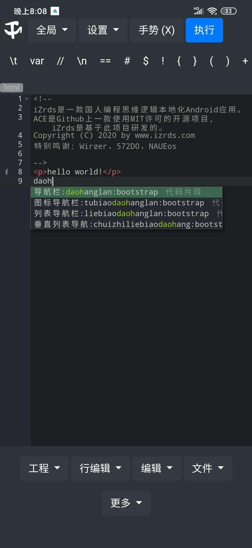 【分享】izrH5中文编程pro版,手机敲代码神器