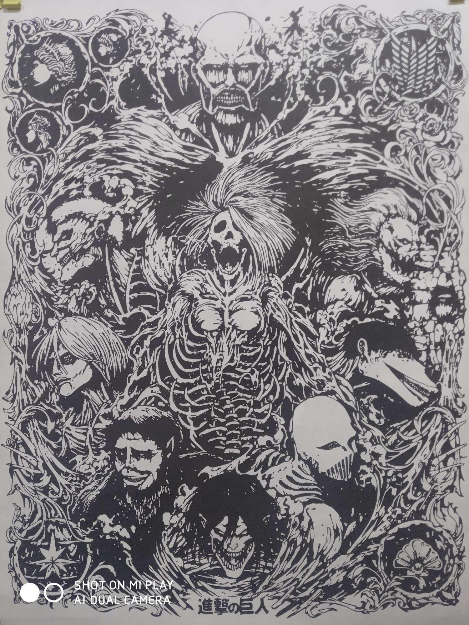 【手绘】【黑白画】进击的巨人-小柚妹站