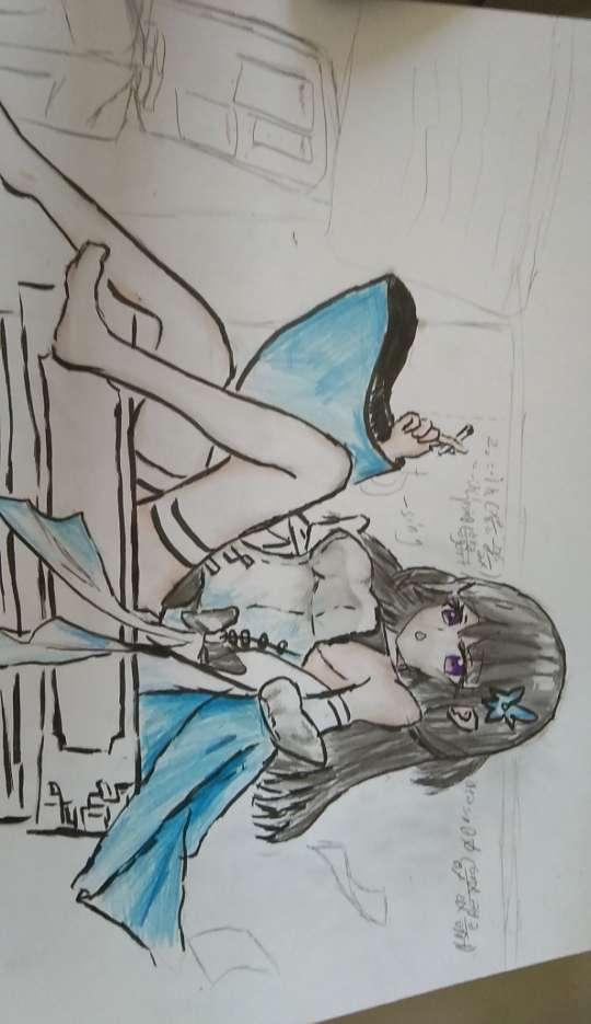 【手绘】坐在老师桌上抽烟的不良少女