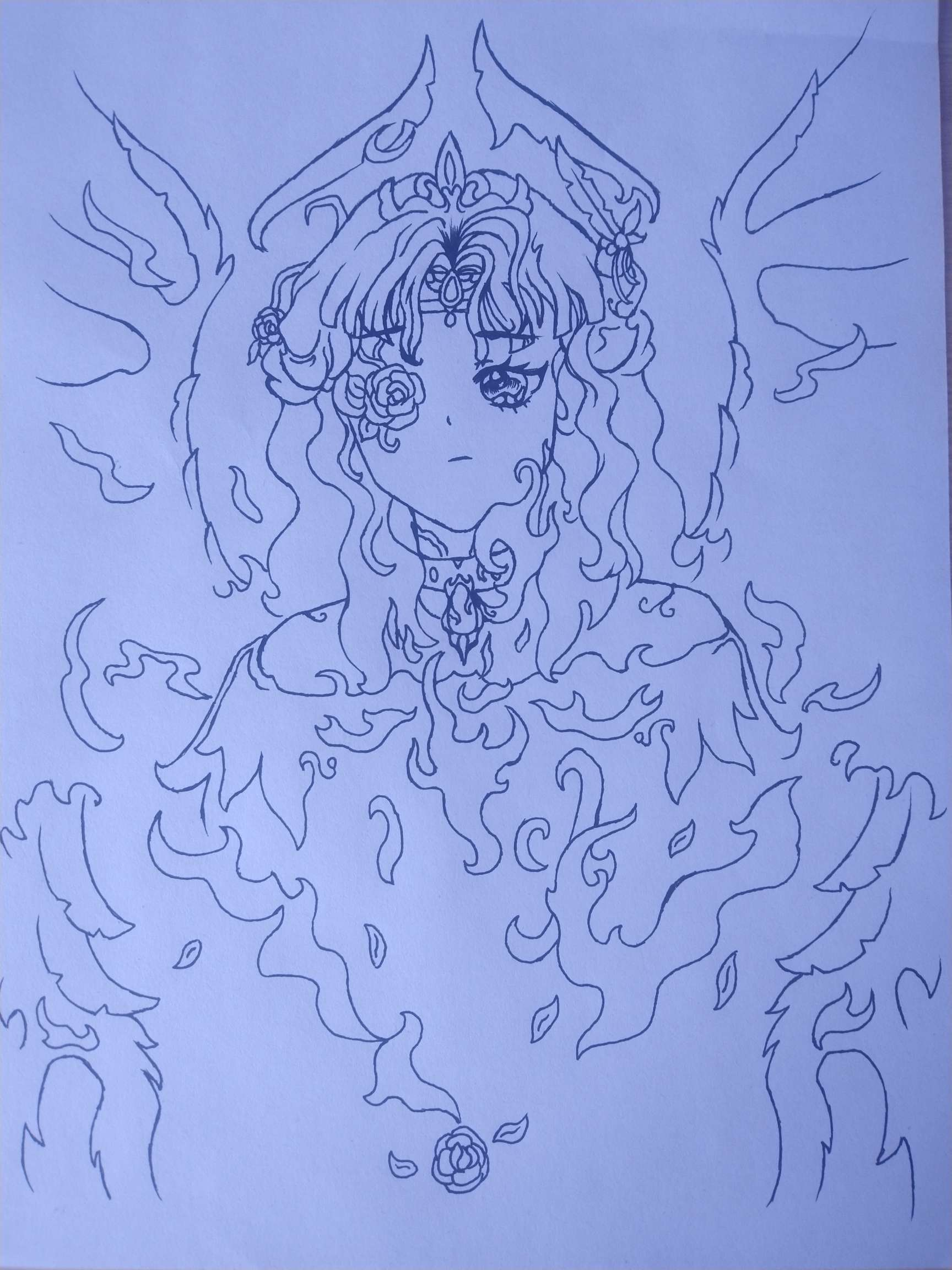 【手绘】萌新绘画,想象的烈焰天使。