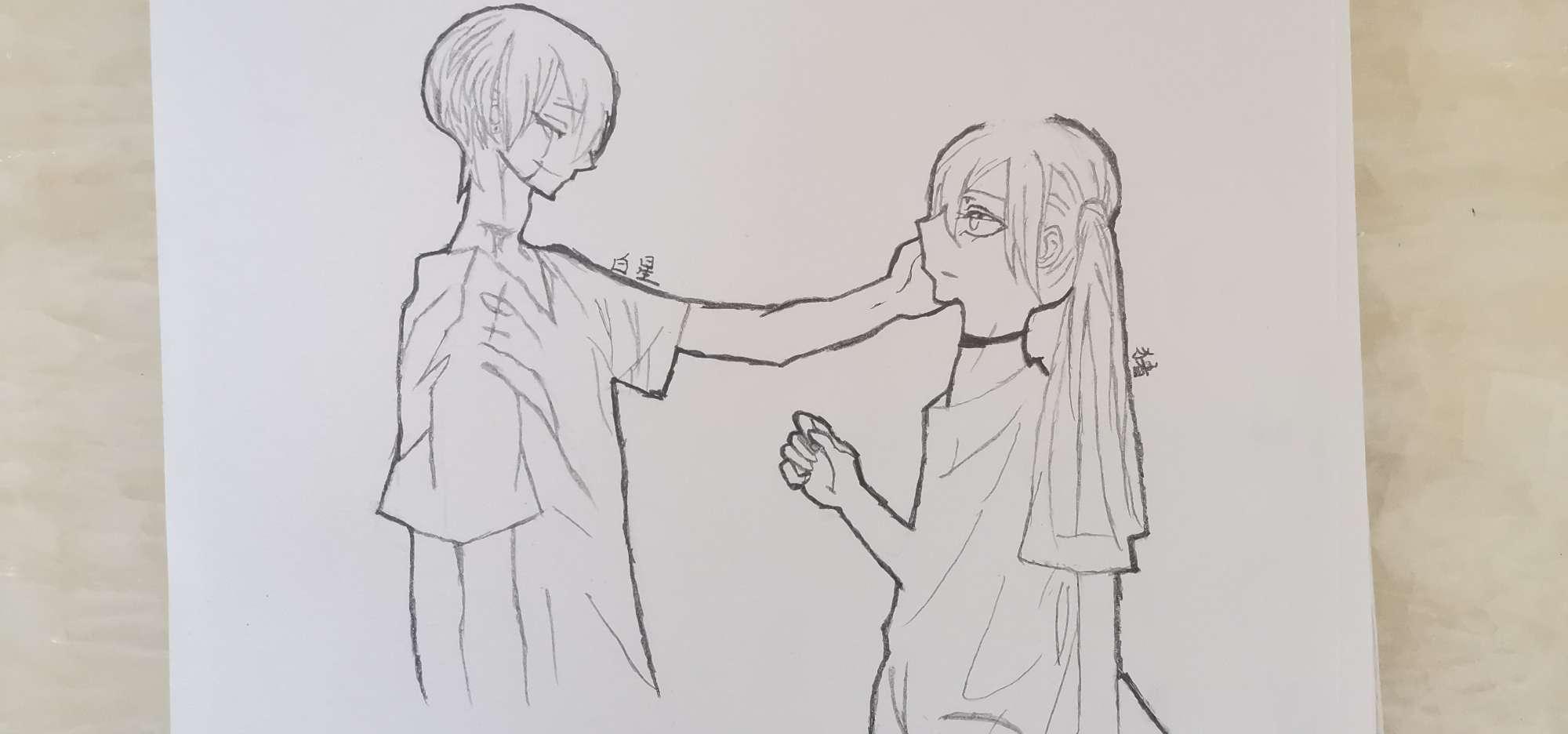 【手绘】情侣头像素描