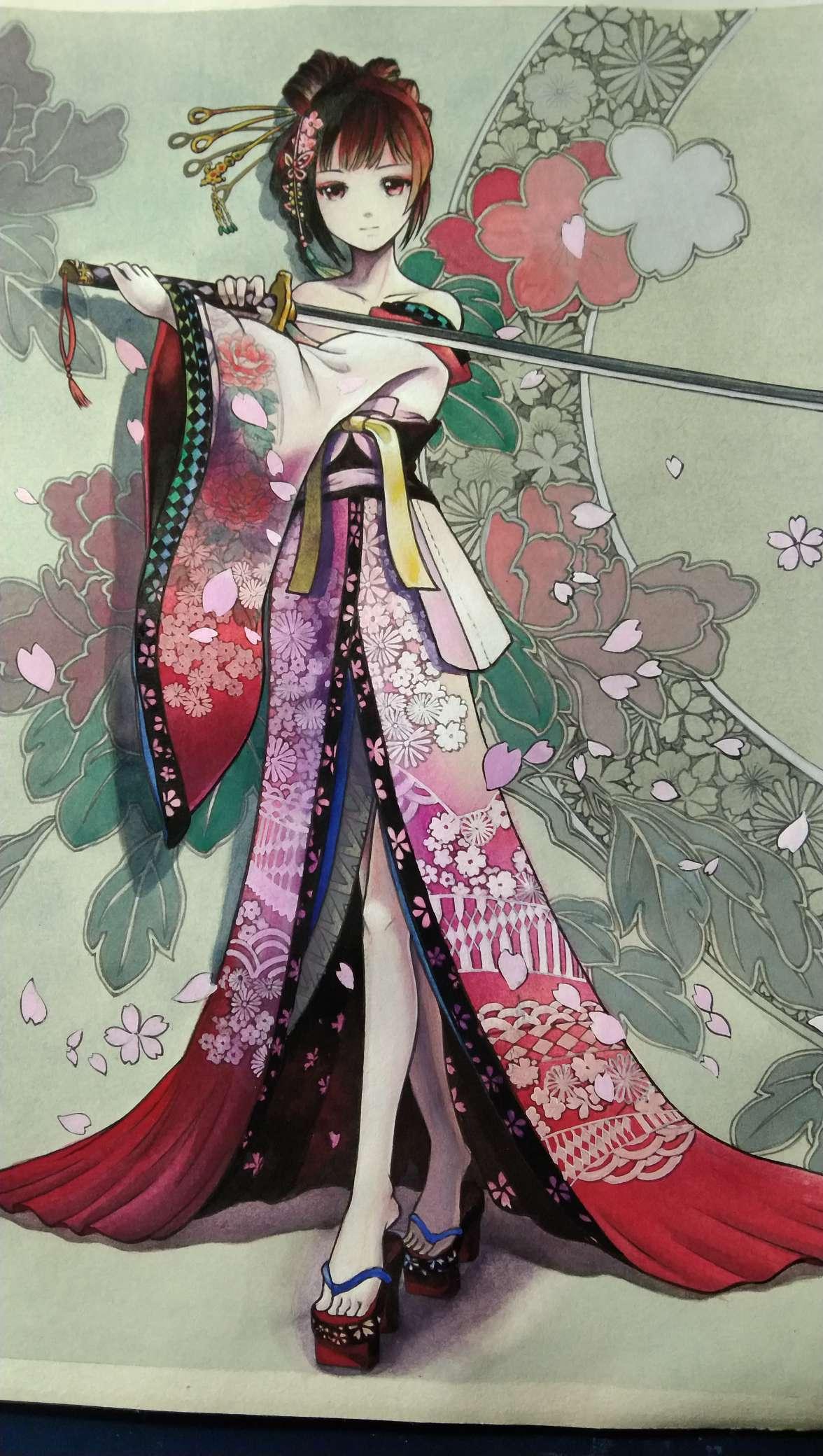 【手绘】艺妓盛装,日本动漫有个海字的-小柚妹站