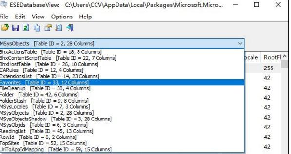 打开Edge浏览器的数据库文件