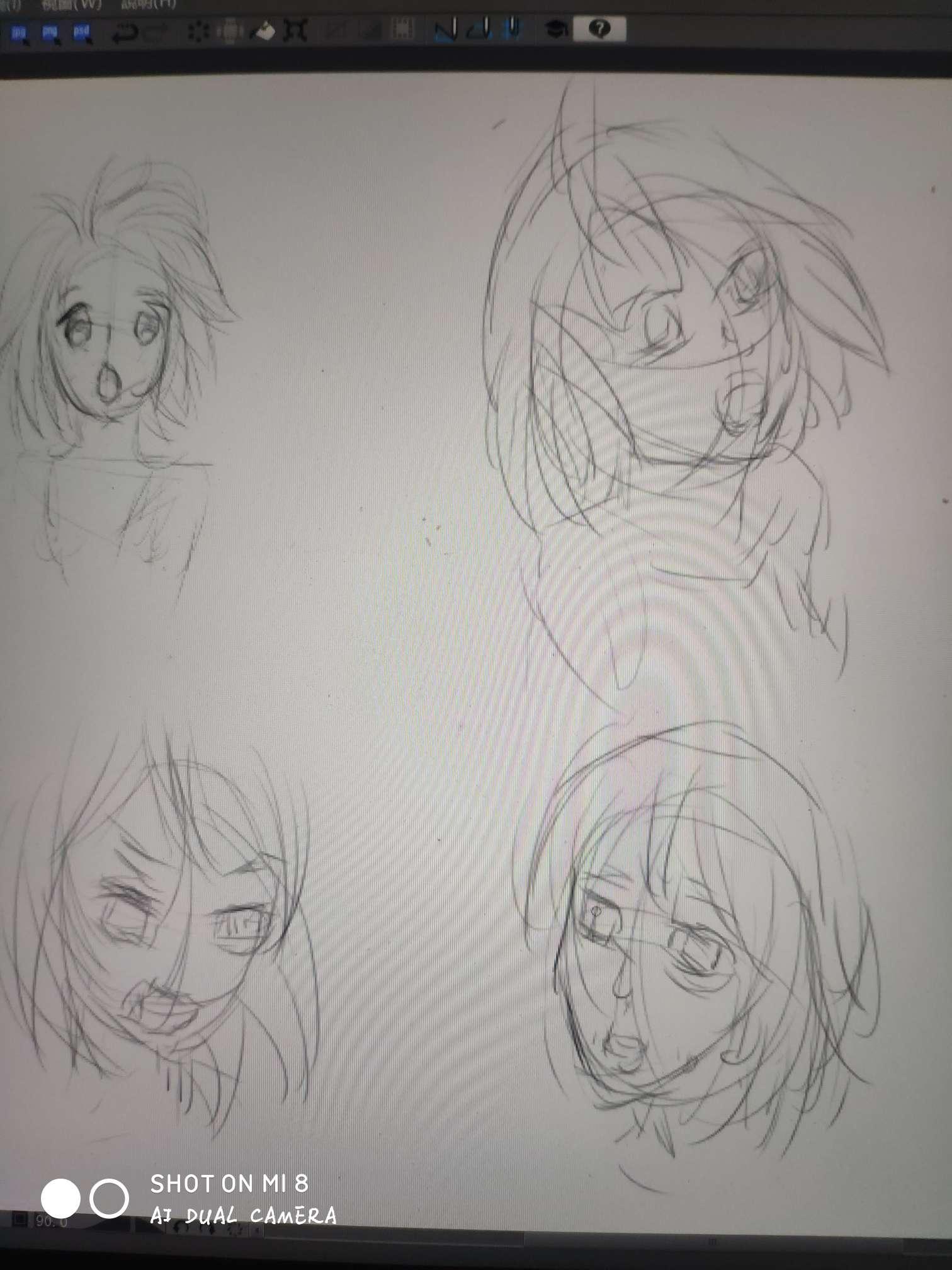【板绘】学习绘画第三天,人脸-小柚妹站