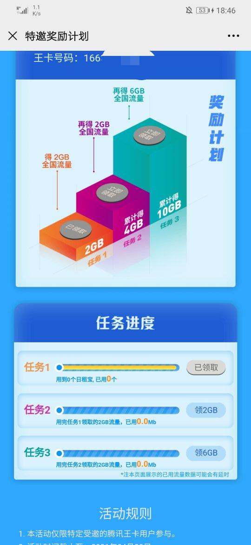腾讯王卡(联通用户自测)领10g国内流量