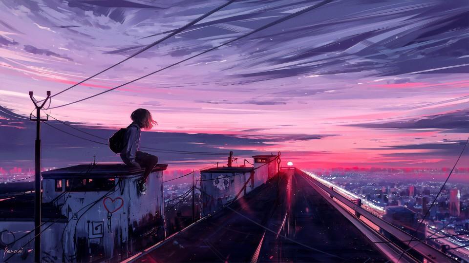 【美图】~日落夕阳,打狗照片动漫