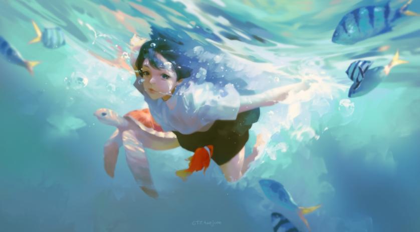 蓝色海水少女 唯美意境4k动漫壁纸