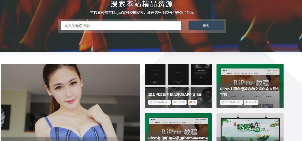 WordPress主题 RiPro v5.0高级付费素材资源类主题
