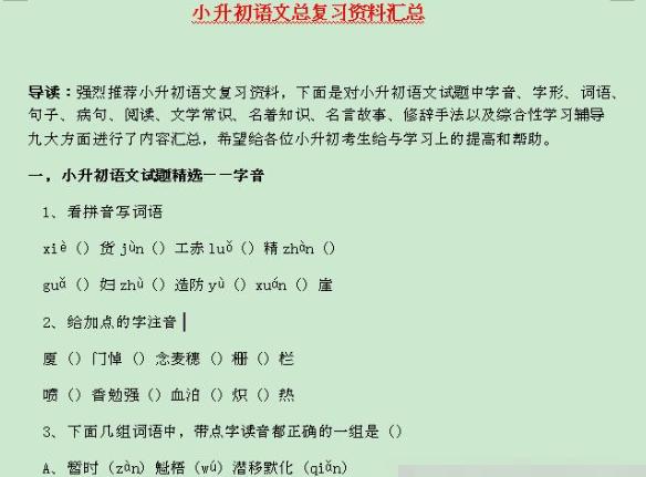 小升初语文总复习资料汇总Word文档百度网盘下载  第1张